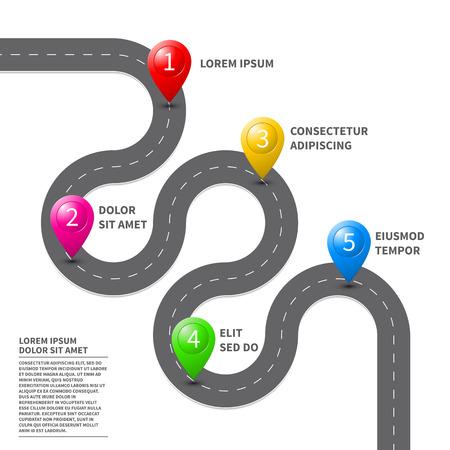 Vector vía hoja de ruta con la ruta con el icono de ubicación de pines en la forma en la pista. Hoja de Ruta de la dirección del mapa de navegación GPS de diseño de plantilla de folleto de infografía