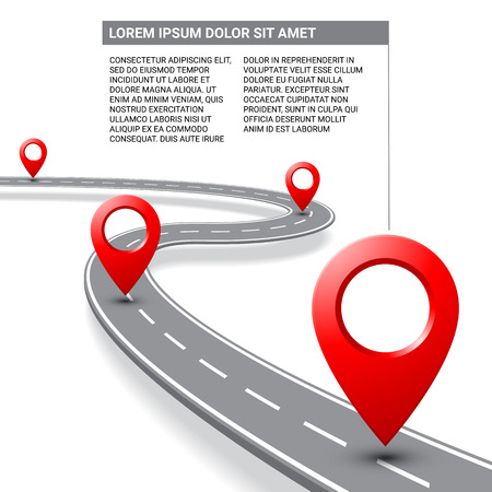 Vector pathway road map infographics with route with location pin icon on the way track. Roadmap direction navigation map GPS infographic leaflet, poster template design