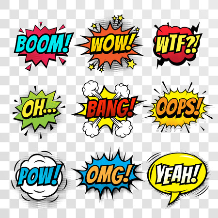 Vector comic speech bubble, sound effects with phrase Boom, Wow, WTF, Oh, Bang, Oops, Pow, OMG, Yeah. Comic cartoon sound bubble speech on transparent background 版權商用圖片 - 64530716