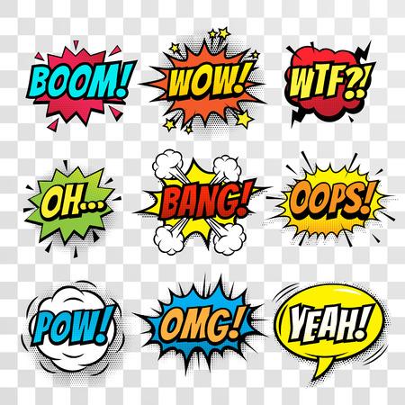 Vector komische tekstballon, geluidseffecten met uitdrukking Boom, Wow, WTF, Oh, Bang, Oops, Pow, OMG, Yeah. Comic cartoon sound bubble toespraak op transparante achtergrond Stock Illustratie