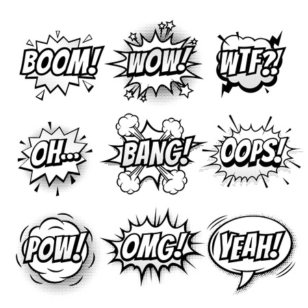 Vector comic speech bubble, sound effects with phrase Boom, Wow, WTF, Oh, Bang, Oops, Pow, OMG, Yeah. Comic cartoon sound doodle sketch bubble speech on transparent background Illustration