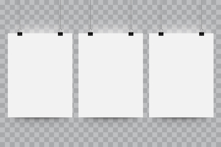 a3: Poster paper mockup. Vector mock-up blank white paper billboard hanging on office clip. Paper gallery canvas set on transparent background with shadow