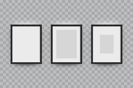 a4 borders: Picture frame for photographs set. Vector realisitc paper or plastic white picture-framing mat with wide black borders shadow. Isolated picture frame A3, A4 vertical mockup template on gray
