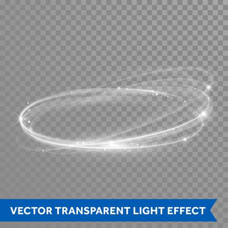 Vector Lichteffekt Kreis Spirale. Glühende weiße Lichtring Spur in Bewegung. Dynamische glitter Magie funkeln wirbeln Spur auf transparentem Hintergrund. Glitter neon runde Welle der funkelnde Blitzlichter Standard-Bild - 64749468