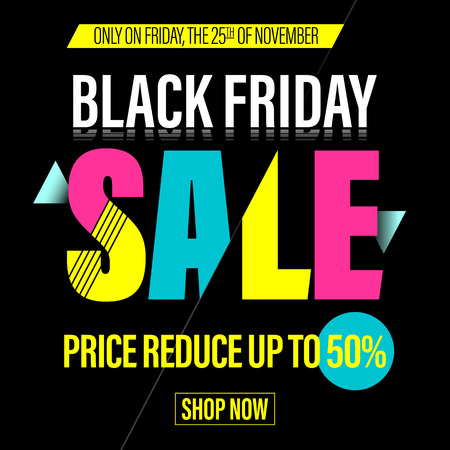 cut off: Black Friday Sale banner. Vector online shop promo poster. Black Friday discount 50 percent, price cut off promo gift card on 25 November 2017