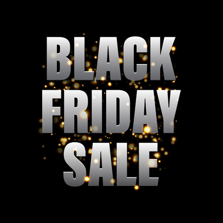 cut off: Black Friday Sale banner. Vector online shop promo gold glitter poster. Black Friday discount 50 percent, price cut off promo gift card on 25 November 2017