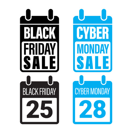 cut off: Black Friday Sale, Cyber Monday promo banner, poster. Vector online shop electronic product appliances. Discount percent, price cut off promo gift card on 25, 28 November 2017 calendar Illustration
