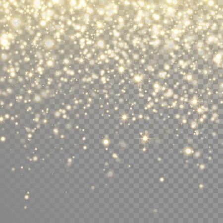 Vector de oro brillo partículas efecto de luz de fondo para la tarjeta de felicitación rica de lujo. Textura con gas. chispas de polvo de estrellas en explosión en fondo negro transparente Ilustración de vector