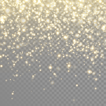 Vector gold glitter particles background light effect for luxury greeting rich card. Sparkling texture. Star dust sparks in explosion on black transparent background