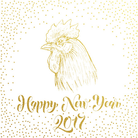 lunar calendar: Happy New Year 2017 greeting card, poster. Vector gold glitter Rooster cock. Vector golden sketch glittering hand drawn Rooster cock symbol by chinese new year zodiac lunar calendar