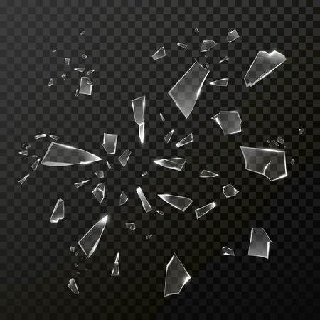 Gebrochene zerbrochene Glas Schutt. Vector transparentem Glas stürzte in Stücke smithers. Gebrochene splittern Spiegelglas auf schwarzem Hintergrund Standard-Bild - 66974040