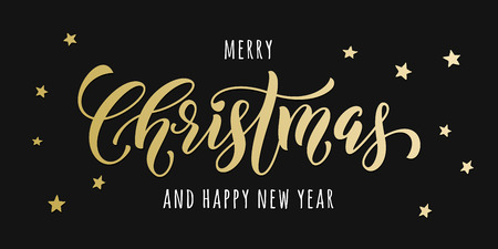 christmas poster: Merry Christmas gold glitter lettering design. Christmas greeting card, poster. golden glittering snow, snowflakes, white dots on black background Illustration