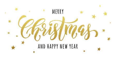 メリー クリスマス ゴールド キラキラ レタリング デザイン。クリスマス グリーティング カード、ポスター。きらびやかな黄金の雪、雪の結晶、白