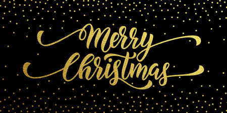 Merry Christmas gold glitter lettering design. Christmas greeting card, poster. golden glittering snow, snowflakes, white dots on black background