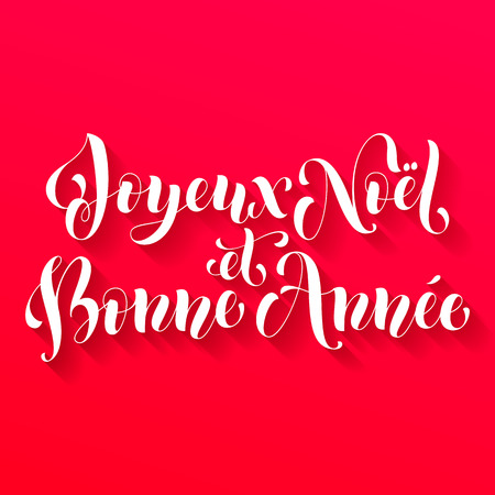 Joyeux Noel, Bonne Annee greeting for French Merry Christmas, Xma, New Year holiday card.festive text for  poster, invitation background
