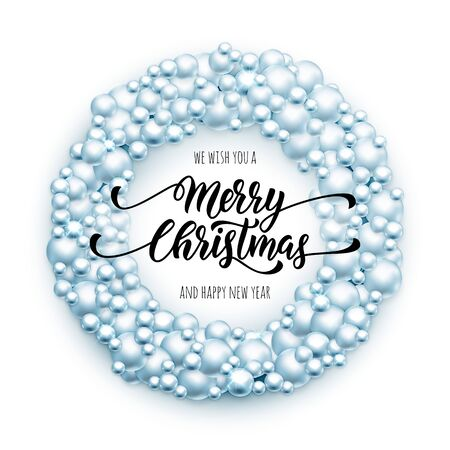 happy christmas: Merry Christmas wreath of glass balls ornament decoration ball garland. Light Blue Christmas text We wish you Merry Christmas, Happy New Year. Xmas lettering for greeting card, poster, background
