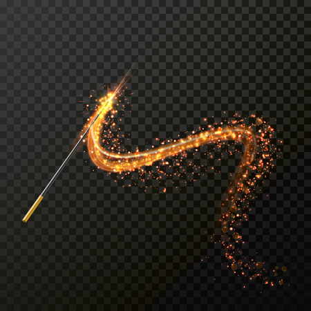 Magic wand with magical sparkle glitter light trail trace. Vector spelling wand glittering and sparkling on transparent background. Magic faity gesture spell wave