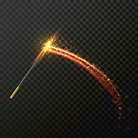 spell: Magic wand with magical sparkle glitter light trail trace. Vector spelling wand glittering and sparkling on transparent background. Magic faity gesture spell wave