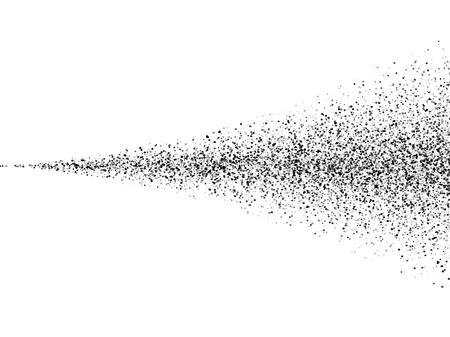 Vecteur sol noir particules de poussière de pulvérisation texture. Noir sale encre propagation queue trace. Pulvérisateur