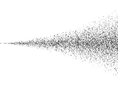 Vector suelo negro partículas de polvo de pulverización textura. Negro sucio propagación de tinta traza cola. Pulverizador