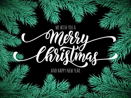 balck: Merry Christmas, Happy New Year greeting card, poster template of pine and fir christmas tree branches border frame. Best wishes congratulation balck night background with text calligraphy lettering