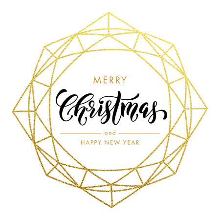Merry Christmas, Happy New Year gold glitter wreath, lettering trend modern design. Christmas greeting card, poster. Vector golden glittering gilding geometric gem ornament decoration white background