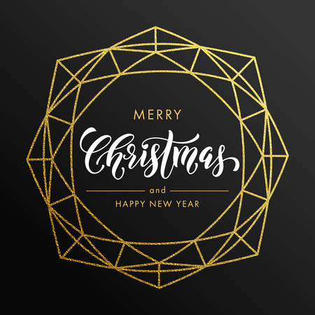 gems: Merry Christmas, Happy New Year gold glitter wreath, lettering trend modern design. Christmas greeting card, poster. Vector golden glittering gilding geometric gem ornament decoration black background