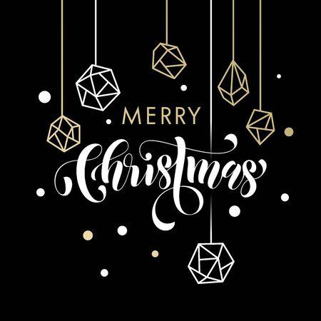christmas baubles of modern design: Merry Christmas gold glitter gilding geometric gem crystal ornaments decoration. Christmas greeting modern trend card, poster lettering design. Vector golden glittering gilt balls baubles background Illustration