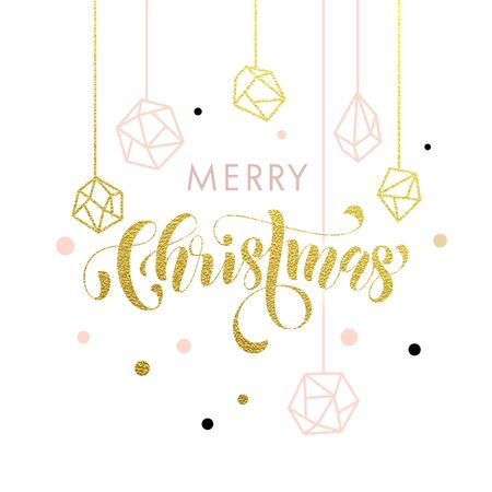 gems: Merry Christmas gold glitter gilding geometric gem crystal ornaments decoration. Christmas greeting modern trend card, poster lettering design. Vector golden glittering gilt balls baubles background Illustration