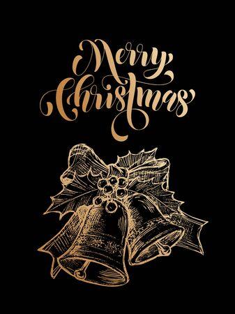 Merry Christmas jingle bells. Gold glitter gilding bell ornament decoration, holly bow tie. Christmas greeting modern trend card, poster lettering. Vector golden glittering gilt foil black background