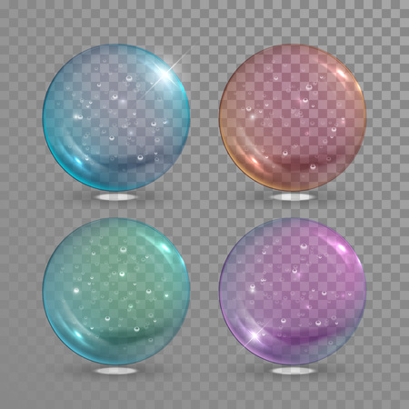 green and purple: Vector glass ball with air bubbles inside. Blue, red, green and purple glass magic balls baubles isolated on transparent background
