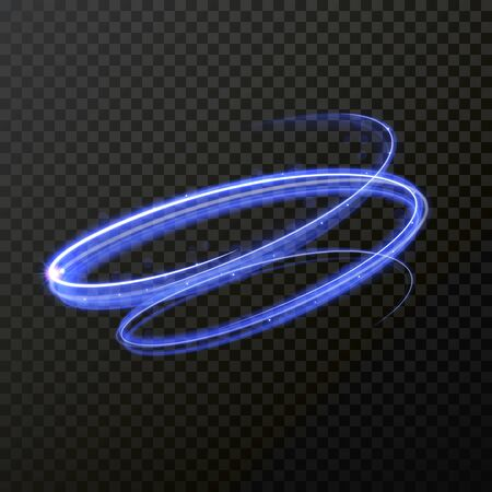 Neon blue swirl spiral light trail. Vector abstract light trace in speed motion. Luminous abstract glitter shimmer light painting