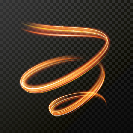 Glowing fire swirl spiral. Vector abstract light speed motion effect. Light trace effect. Glow luminous glitter shimmer trail. Light painting