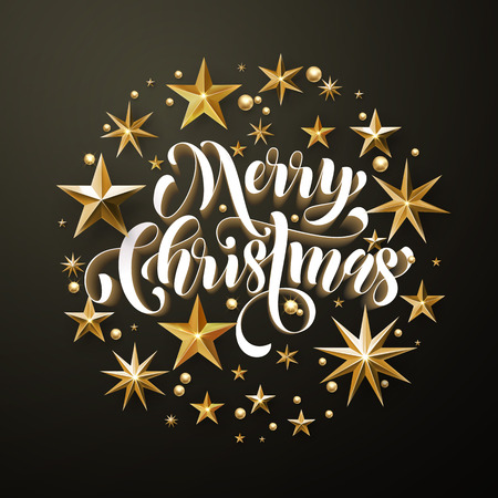 gilding: Merry Christmas greeting card of gold glitter stars. Vector stars of golden foil glittering gilding. Round Christmas ornament decorations. Vector calligraphy lettering