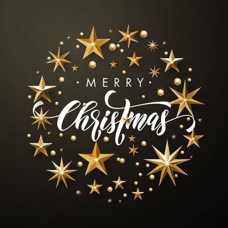 Merry Christmas greeting card of gold glitter stars. Vector wreath of stars of golden foil glittering gilding. Round Christmas ornament decorations. Vector calligraphy lettering