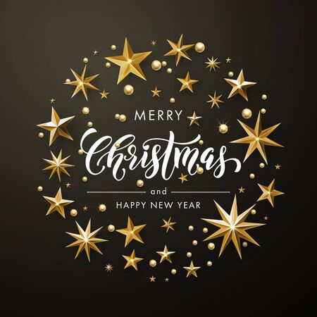 Merry Christmas, Happy New Year greeting card of gold glitter stars. Vector wreath of stars of golden foil glittering gilding. Round Christmas ornament decorations. Vector calligraphy lettering Illustration