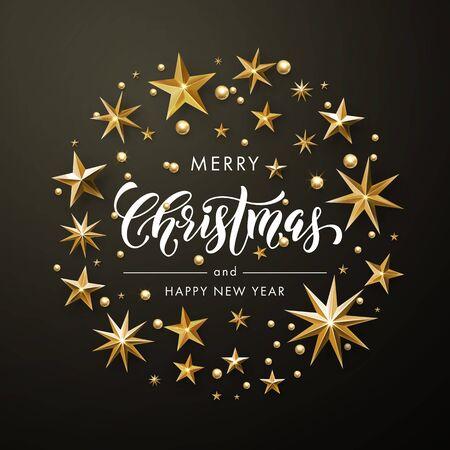 Vrolijke Kerstmis, de Gelukkige kaart van de Nieuwjaargroet van goud schitteren sterren. Vectorkroon van sterren van gouden folie schitterende vergulden. Ronde kerst versiering decoraties. Vector kalligrafie belettering