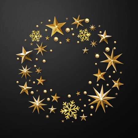 Christmas wreath decoration of gold glitter stars, snowflakes with golden glittering foil gilding. Round Christmas ornament Illustration