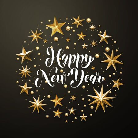 Happy New Year greeting card of gold glitter stars. Vector stars of golden foil glittering gilding. Round Christmas ornament decorations. Vector calligraphy lettering