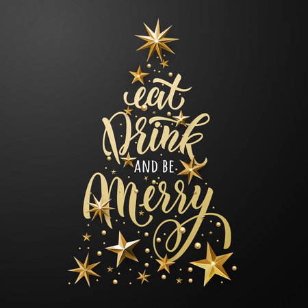 Christmas tree poster of gold glitter stars ornament. Eat, drink and be merry greeting card. Vector stars with golden glittering foil gilding. Christmas decoration