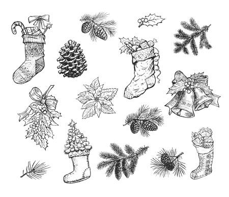 lazo regalo: La mano de Navidad de esbozo de calcetín regalo, guirnalda de pino, abeto de cono, rama de abeto, el acebo arco hoja, bola chuchería, campana, cargador del invierno Santa Claus, árboles de Navidad. iconos aislados del vector en la pizarra Vectores