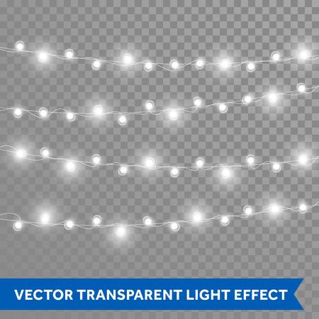 クリスマスの照明。ベクトルは、ランプの現実的な熱烈なガーランド スレッドを分離しました。クリスマス、正月パーティー装飾デザイン要素  イラスト・ベクター素材