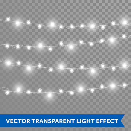 Christmas lights. Vector isolated realistic glowing garland threads of lamp lights. Christmas, New Year party decoration design elements Stock Illustratie