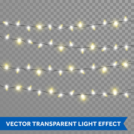 Christmas lights. Vector isolated realistic glowing garland threads of golden lamp lights. Christmas, New Year party decoration design elements