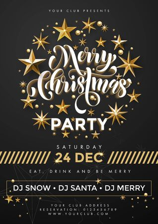 a3: Merry Christmas Party poster. 24 December celebration banner template with text, golden twinkling stars