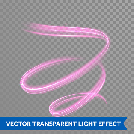whirl: Pink swirl spiral light painting effect. Vector abstract red light trail trace in whirl motion Illustration