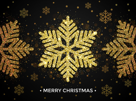 gold christmas decorations: Merry Christmas gold greeting card with snowflake glitter pattern. Falling golden glittering snow with sparkling snowflakes decorations on black background