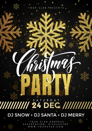 christmas poster: Snowflakes pattern for Christmas Party placard, flyer, poster. Template for holiday celebration event. Black background with gold glitter decorative elements