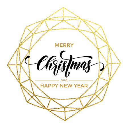 gilding: Golden crystal shape ornament of gold folia gilding. Merry Christmas, Happy New Year greeting card Illustration