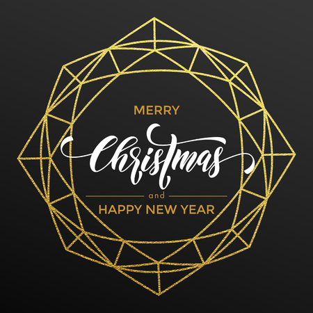 new year decoration: Golden Christmas decoration of geometric wreath with gold glitter. Happy New Year greeting card poater Illustration